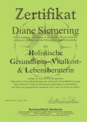 Diane Siemering - Holistische Gesundheits- Vitalkost- und Lebensberaterin