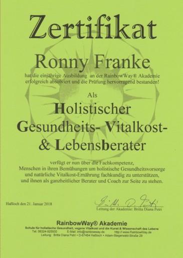 Ronny Franke - Holistischer Gesundheits- Vitalkost- und Lebensberater
